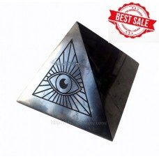 150 mm Polished shungite pyramid with engraving The Eye of God
