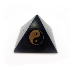 Yin & Yang Shungite pyramid polished 100 mm