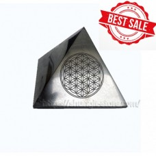 100mm Polished shungite pyramid with engraving Flower of life