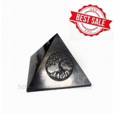 100mm Polished shungite pyramid with engraving Tree of life