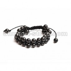 Shungite Oriental Bracelet,  double row (opposite beads)