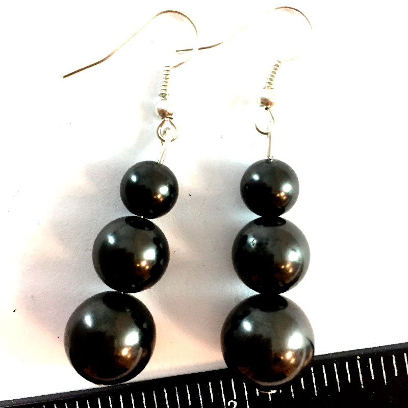Earrings Three beads shungite 02