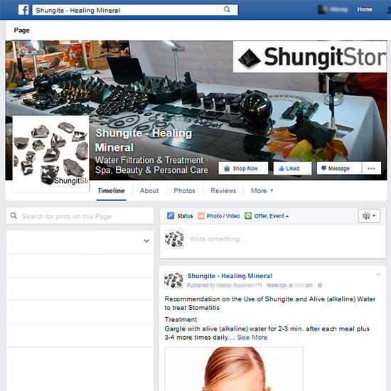 Facebook Shungite-Healing Mineral